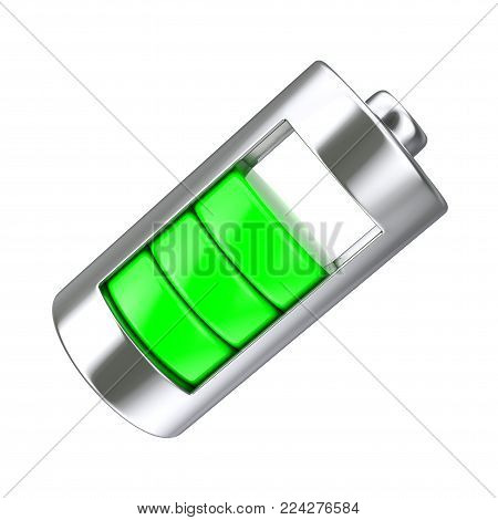 Abstract Charging Battery with Green Charge Level on a white background. 3d Rendering