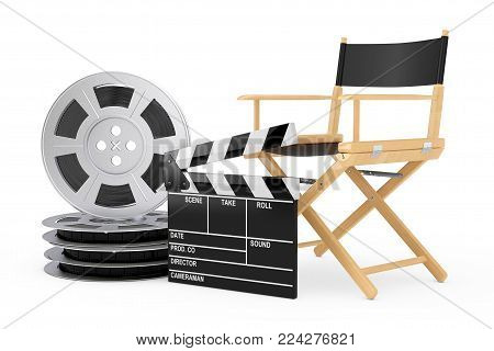 Cinema Industry Concept. Director Chair, Movie Clapper and Film Reels on a white background. 3d Rendering.