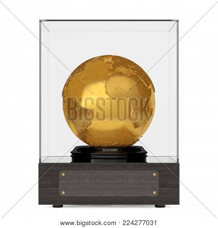 Realistic Topography Golden Metal Earth Globe in Glass Cube with Plate for Yours Text on a white background. 3d Rendering