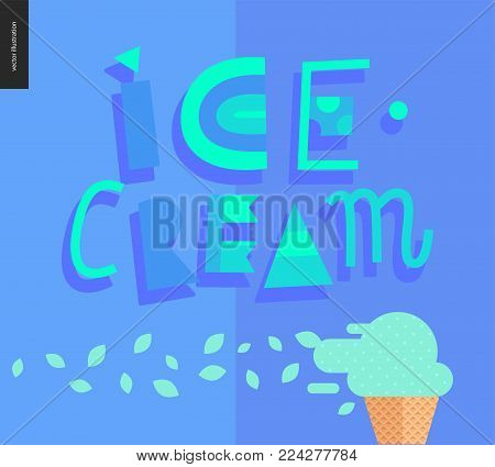 Love spring ice cream lettering and ice cream cone on the blue pattern