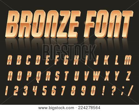 Color, bright font in the old style. Vector, vintage alphabet. Style 80 s, 90 s retro posters. Color gradient. Bronze font.