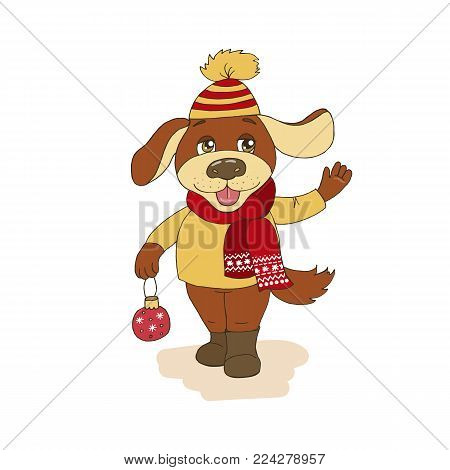 Christmas and Happy New year card with cute dog wearing cap and scarf. Vector funny illustration for your design, postcard, textiles, pet shop in cartoon style. Dog symbol of Chinese New Year 2018.