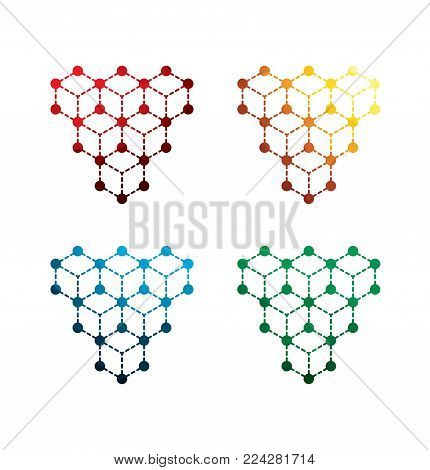 colorful molecules icons on white background. isolated molecules icons. eps8. on layers.