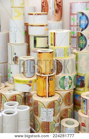 Rechitsa, Belarus - April 12, 2013: Polygraphic Products. Colored Commercial Stickers In Rollers.