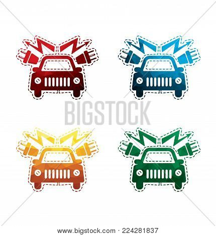 colorful electric car icons on white background. isolated electrical engine icons. eps8. on layers.