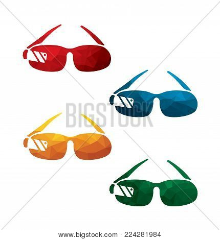 colorful google glass icons on white background. isolated glasses icons. eps8. on layers.
