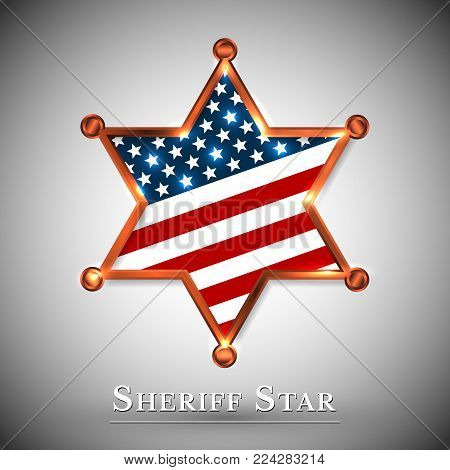 Sheriff badge greeting card with star of USA.