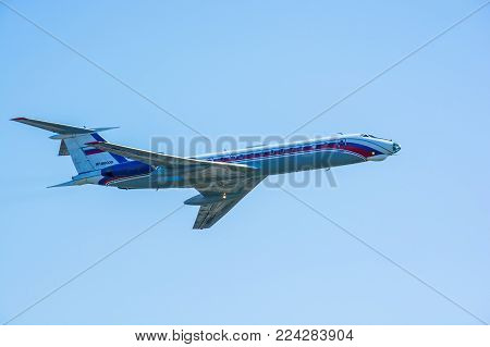 ROSTOV-NA-DONU, RUSSIA - CIRCA SEPTEMBER 2017: Russian military plane in sky at military air show