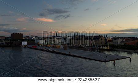 Ofelia Beach in Copenhagen Harbor, The Royal Danish Playhouse, Scandic Front Hotel, Admiral Hotel.