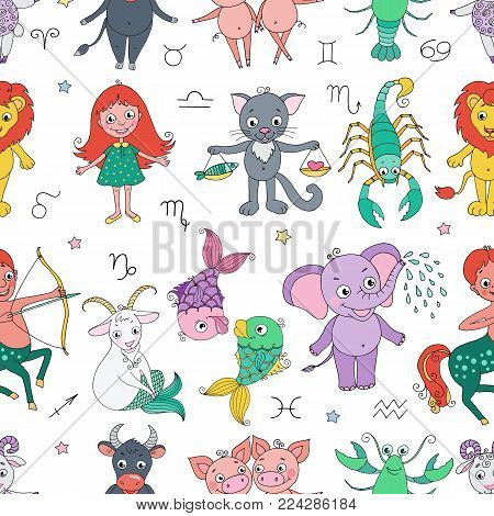 Funny seamless pattern with zodiac sign. Cute illustration in white background. Pisces scorpio gemini aries aquarius virgo cancer taurus leo libra sagittarius capricorn