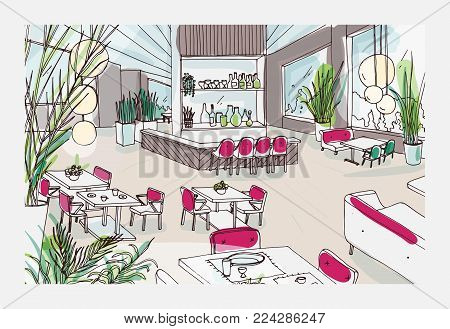 Colorful freehand drawing of restaurant or bistro interior with modern furnishings - tables, chairs, pendant lights, potted plants. Cafe or bar furnished in elegant loft style. Vector illustration