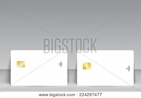 Set of banking chip credit card realistic mockup. Clear plastic card template