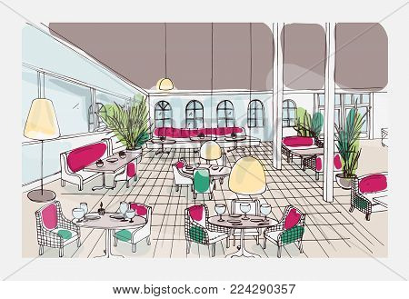 Colored hand drawn restaurant or cafe interior with checkered floor and stylish furnishings. Colorful freehand drawing or sketch of modern bistro furnished in elegant style. Vector illustration