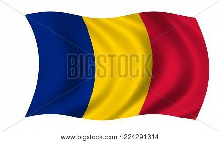 waving romanian flag in the colors blue, yellow and red