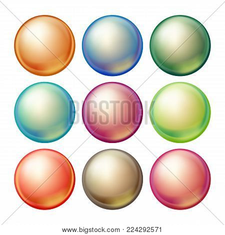 Round Glass Sphere Vector. Set Opaque Multicolored Spheres With Glares, Shadows. Isolated Illustration