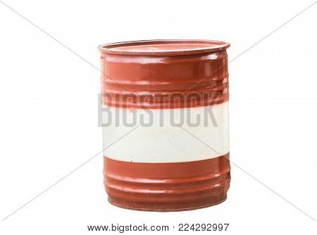 Oil barrel dirty drum isolated on white background. Thai has clipping path