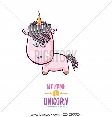 vector funny cartoon cute pink fairy unicorn isolated on white background. My name is unicorn vector concept illustration. funky hand drawn kids animal character