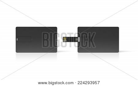 Blank black plastic wafer usb card mock up, opened and closed, clipping path, 3d rendering. Visiting flash drive namecard mockup. Call-card disk souvenir presentation. Flat credit stick adapter design