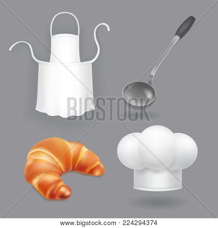 Chef hat, kitchen apron, ladle and bread vector. Kitchen icons set.