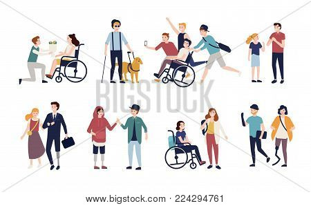 Collection of disabled people with their romantic partners and friends. Set of men and women with physical disorder or impairment with mates and family. Flat cartoon characters. Vector illustration