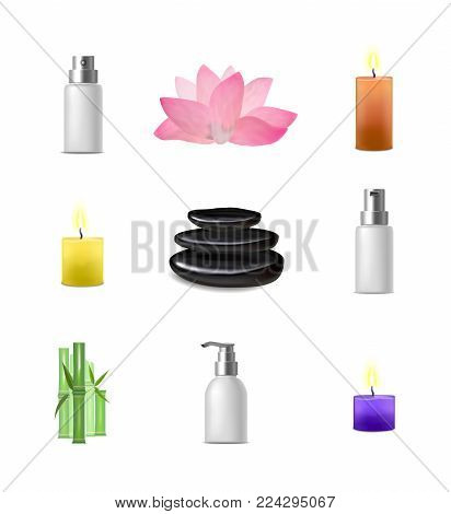 Realistic Detailed Spa Asian Style Concept Set Salon Therapy Relax Care Health . Vector illustration