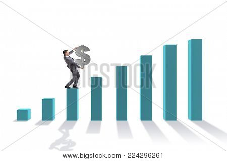 Businessman carrying dollar sign in economic growth concept
