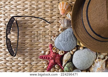 Sea Vacation Background With Star Fish And Shells .