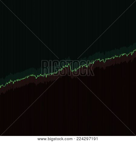Up trend stock market bars with long shadows on dark background. Color market graph. 3D illustration for option, forex, exchange, stock