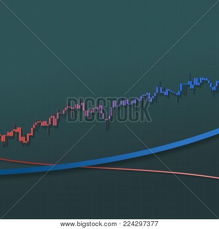 Trend stock market bars with long shadows on grid background. Color market graph. 3D illustration for option, forex, exchange, stock