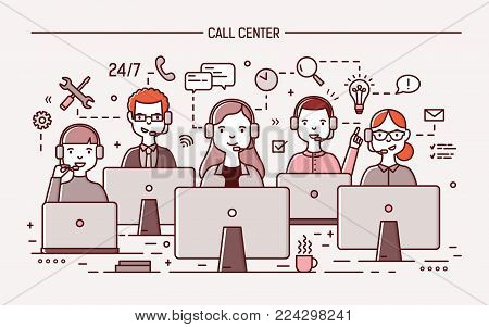 Smiling men and women wearing headphones with microphones sitting at computer displays and answering question. 24 hour call center, technical support service. Vector illustration in line art style