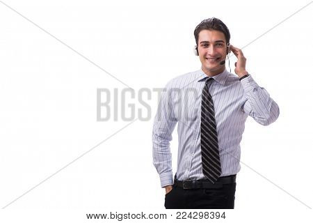 Young call center operator isolated on white background