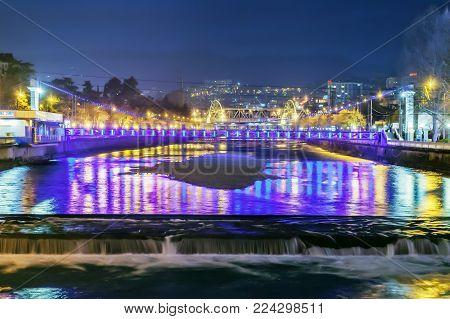 SOCHI, RUSSIA - JANUARY 28, 2018: Water cascade on the Sochi River