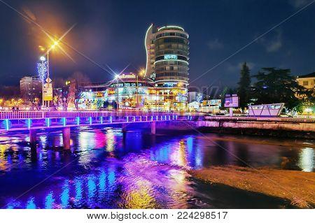SOCHI, RUSSIA - JANUARY 28, 2018: The bridge across the Sochi River