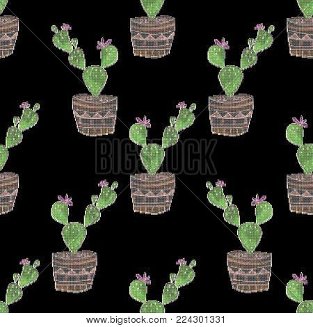 Seamless embroidery cross stitch cactuses pattern on black background