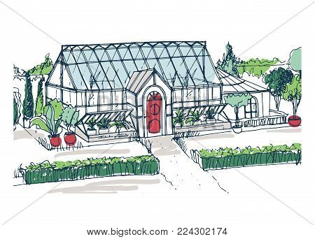Drawing of elegant glasshouse building with red entrance door surrounded by bushes and trees growing in pots. Freehand sketch of facade of glass greenhouse. Colorful hand drawn vector illustration