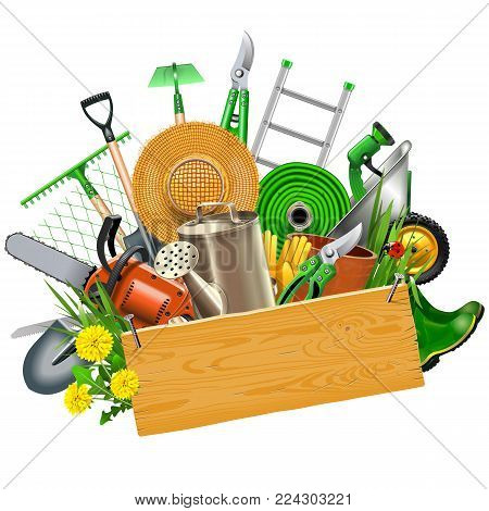 Vector Gardening Concept with Wooden Plank isolated on white background