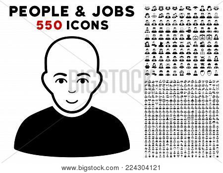 Bald Patient icon with 550 bonus pitiful and glad user pictures. Vector illustration style is flat black iconic symbols.