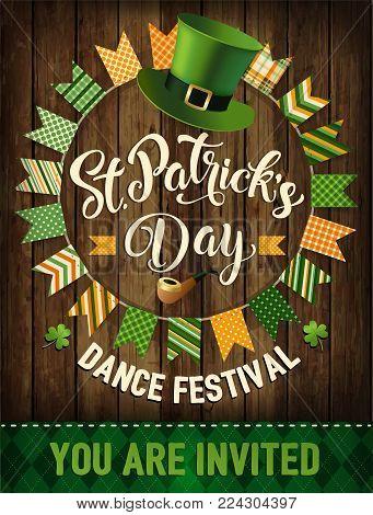 St. Patricks Day vintage holiday design. Vector illustration