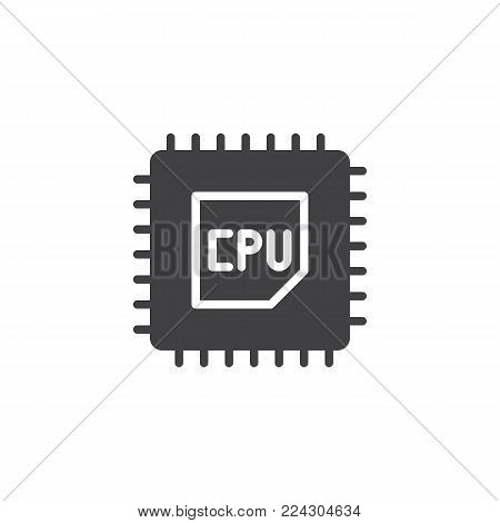 CPU processor icon vector, filled flat sign, solid pictogram isolated on white. Computer chip symbol, logo illustration.