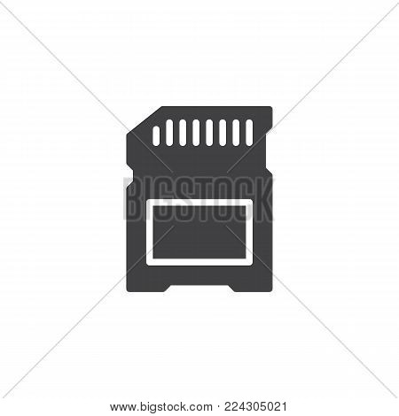 SD card icon vector, filled flat sign, solid pictogram isolated on white. Memory card symbol, logo illustration.