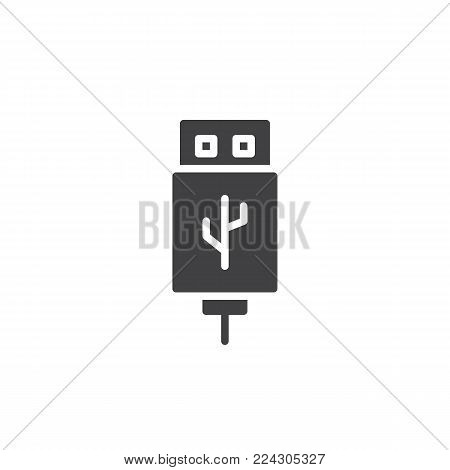 USB cable connector cord icon vector, filled flat sign, solid pictogram isolated on white. Symbol, logo illustration.