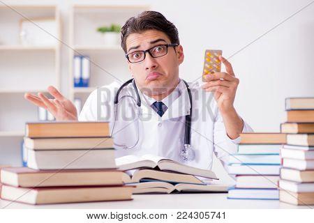 Medical student preparing for university exams