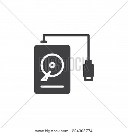 Portable HDD icon vector, filled flat sign, solid pictogram isolated on white. Hard drive disk symbol, logo illustration.