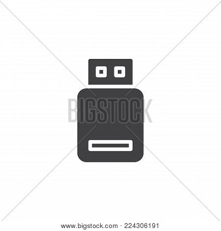 USB flash drive icon vector, filled flat sign, solid pictogram isolated on white. Memory stick symbol, logo illustration.