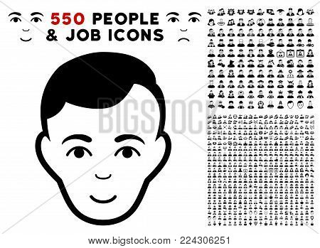 Face pictograph with 550 bonus pity and happy people images. Vector illustration style is flat black iconic symbols.