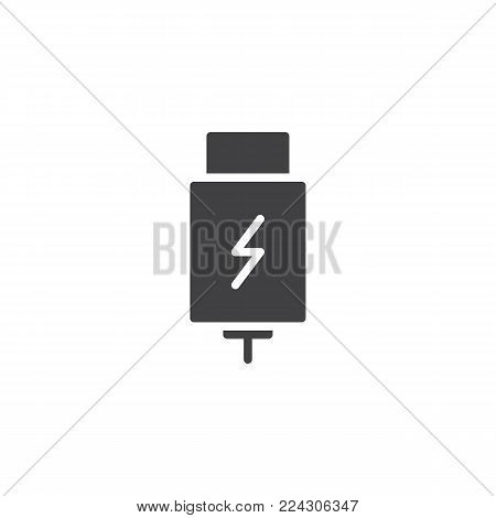 USB charging plug icon vector, filled flat sign, solid pictogram isolated on white. Symbol, logo illustration.