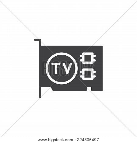Computer video card icon vector, filled flat sign, solid pictogram isolated on white. TV tuner pcie card Symbol, logo illustration.
