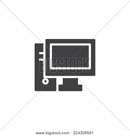 Desktop computer icon vector, filled flat sign, solid pictogram isolated on white. PC symbol, logo illustration.