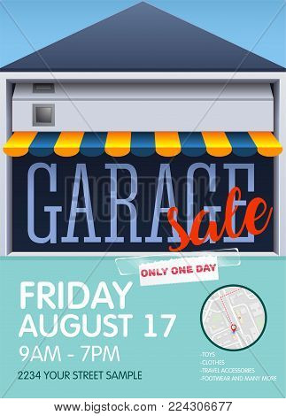 Printable poster template for garage or yard sale event. vector