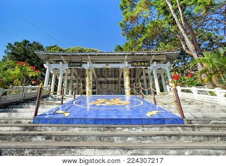 CHIANG RAI, THAILAND - December 21, 2017: General Tuan Shi-wen Tomb Memorial in Doi Mae Salong, Chiang Rai, Thailand. He passed away in 1980 and his tomb sits on the side of a hill high above Doi Mae Salong. GPS Waypoint N20 09.846 E99 37.257